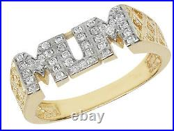 9ct Gold Mum Ring Cubic Zirconia Cz Mummy Mother Basket Link Side Gift Box