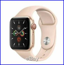 Apple Watch Series 5 40mm Gold Case Pink Sand Sport Band GPS + Cellular Mint