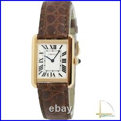 Cartier Tank Solo 18K Solid Rose Gold Watch Roman Brown Leather Band Watch