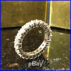 Certified 2Ct Diamond Eternity Band Hallmarked Engagement Ring In 14K White Gold