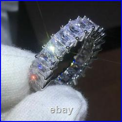 Certified 3.00Ct Diamond Full Eternity Band 14K White Gold Excellent Emerald Cut
