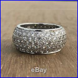 Certified 4Ct White Round Diamond Stackable Eternity Wedding Band 14K White Gold