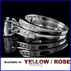 Christmas Special PRINCESS SET RING WEDDING BAND SOLID 10K WHITE GOLD