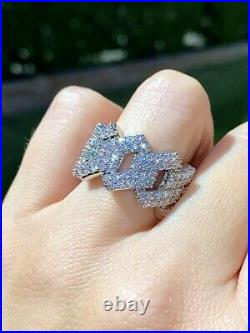 Cuban Men's Women Ice out Ring, Silver Diamond Size 7 Ring 14K White Gold Over