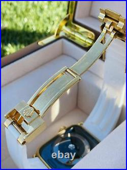 Custom 24K Gold Plated 44MM Apple Watch SERIES 6 White OYSTERFLEX ROLEX Band