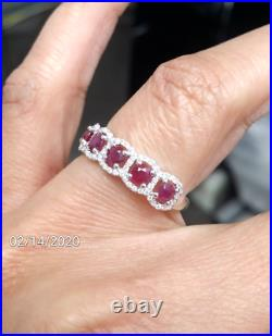 Deal! 1.05 CTW Genuine Natural Ruby & Diamond Ladies Band Ring 14K Gold
