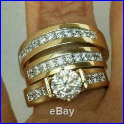 Diamond His-Her Trio Ring Set Engagement Wedding Band In 14K Yellow Gold Over
