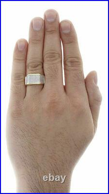 Diamond Pinky Ring 10K Yellow Gold Over Mens Pave Set Round Cut Wedding Band 1Ct