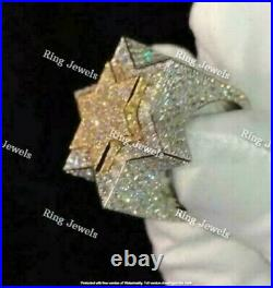 Diamond Star Pinky Men's Engagement Band Ring Real 10K White Yellow Gold Over