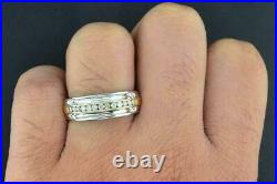 Diamond Wedding Band 10K Two Tone Gold Over Round Mens Ring Channel Set 1.27 Ct