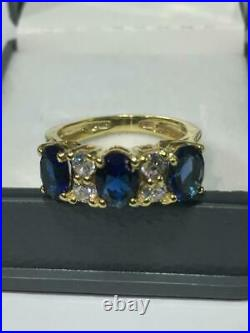 Estate 3 Stone Oval Blue Sapphire & Diamond Ring 18k Yellow Gold Over Band 5.2Ct