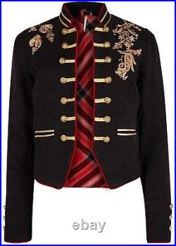 Free People Lauren Band Jacket Military Embroidered Gold Open Front OB807869