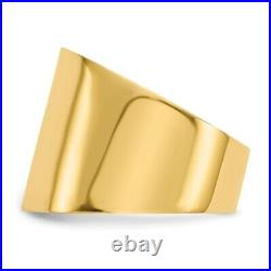 Genuine 14k Yellow Gold 15mm Flat-top Tapered Cigar Band Ring 6.96 gr