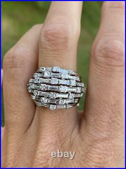 Heavy Wide Band Dome Engagement Wedding Fine Ring 14K White Gold 2.87 Ct Diamond