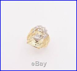 Men's Jesus Head Nugget Ring CZ Real Solid 10K Yellow White Gold Size 11