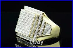 Mens 10K Yellow Gold Over Round White Diamond Big Square Face Pinky Ring Band