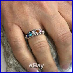 NANA Rope Mother's Ring 1-10 Round SImulated Birthstones Sterling Silver or 10kt