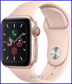 NEW Apple Watch Series 5 40mm Gold Case with Pink Sand Sport Band GPS + Cellular