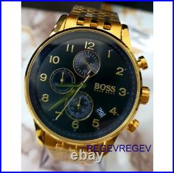 NEW Hugo Boss Watch HB1513531 Mens Blue Dial Gold Band Gold Case 1513531