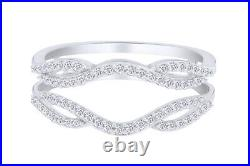 Natural Diamond Solitaire Enhancer Engagement Ring 1/3 ct Guard 10K White Gold