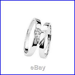 New His and Hers Matching Diamond Wedding Ring Set 9ct White Gold Band