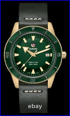New Rado Captain Cook Auto Bronze Green Dial Leather Band Men's Watch R32504315