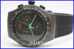 New Swatch Mint In Dark Chronograph Black Rubber Band Men Watch 48mm YOB105 $225