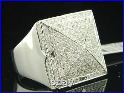Pinky Ring Round Diamond 14K White Gold Over Square Face Mens Designer Band 2 Ct