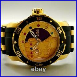Rare Invicta Marvel Thanos 48mm Stainless Steel Gold Case Gem Dial Ss Band Watch