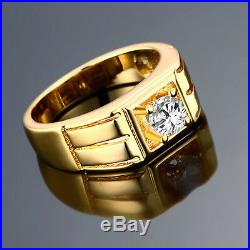 Real 10K Yellow Gold 0.50 Ct Round Cut Diamond Solitaire Engagement Men's Ring