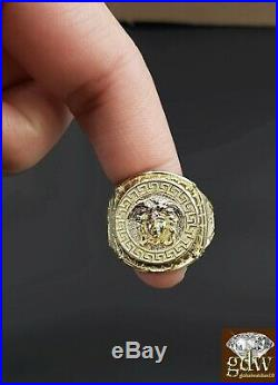 Real 10k Gold Mens Ring Medusa Head Thick band, Pinkey Ring, casual, Sizable, 10