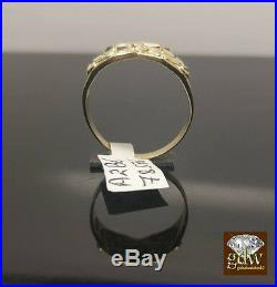 Real 10k Yellow Gold Nugget Ring Band Pinkey, casual, Wedding, Gift For Men's, N