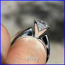 Solid 14K White Gold 2.73Ct Princess cut Solitaire Band Diamond Engagement Ring