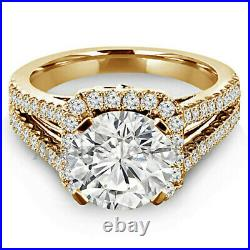 Solid 14k Yellow Gold 3.25ct Round Halo Solitaire Diamond Engagement Ring Band