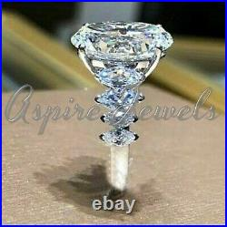 Solid 14k white Gold 4.58ct Oval cut Solitaire Diamond Ring Engagement Band