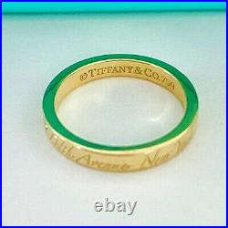 Tiffany & Co. 18k Yellow Gold Notes Band Ring Size 4 Fifth Avenue -Newithpouch